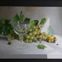 José Antonio Díaz Barberán - uvas verdes y copa 30x40