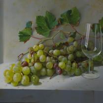 José Antonio Díaz Barberán - uvas y catavinos 30x40