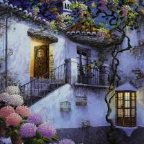 Luis Romero - Patio con parra - 45x34 cm