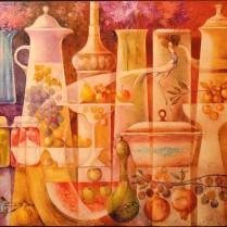 Bodegón con cerámicas y frutas 60x73
