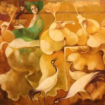 Equus y figuras multicolores 40x100