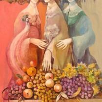 Tres figuras y frutas 68x49