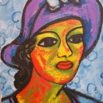 Mª Josefa Díaz Mujer con sombrero 35x27