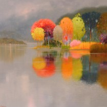 Pedro Roldán - Reflejos de otoño.Orta de S.Giulio.50x50cm