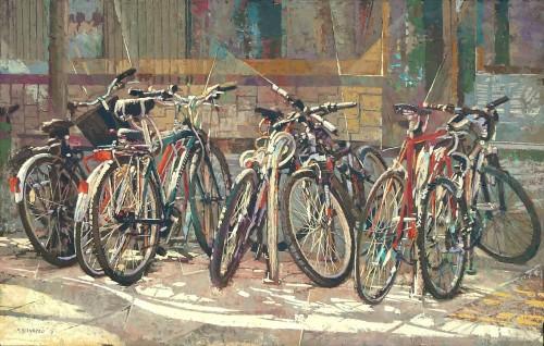 16-bicicletas en reposo-54 x 84 cms -tecnica mixta sobre lienzo-16
